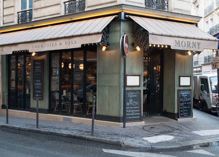 Extérieur du restaurant Le Morny de Paris. Décoration par le Studio Emma Roux.