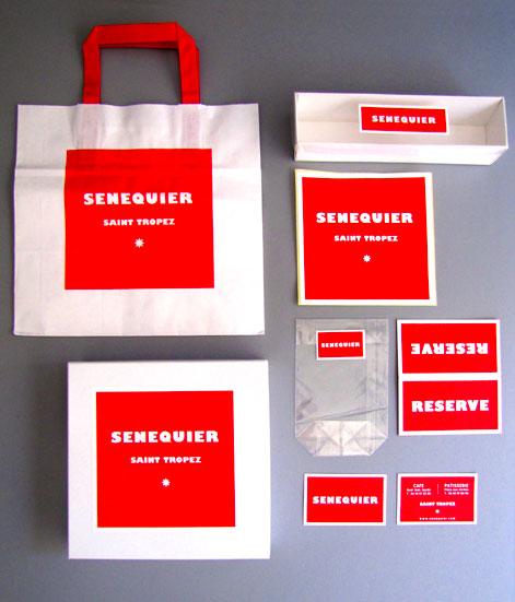 Graphisme et packaging fait par le Studio Emma Roux pour le Café Senequier de Paris. Dominante de rouge sur les paquets