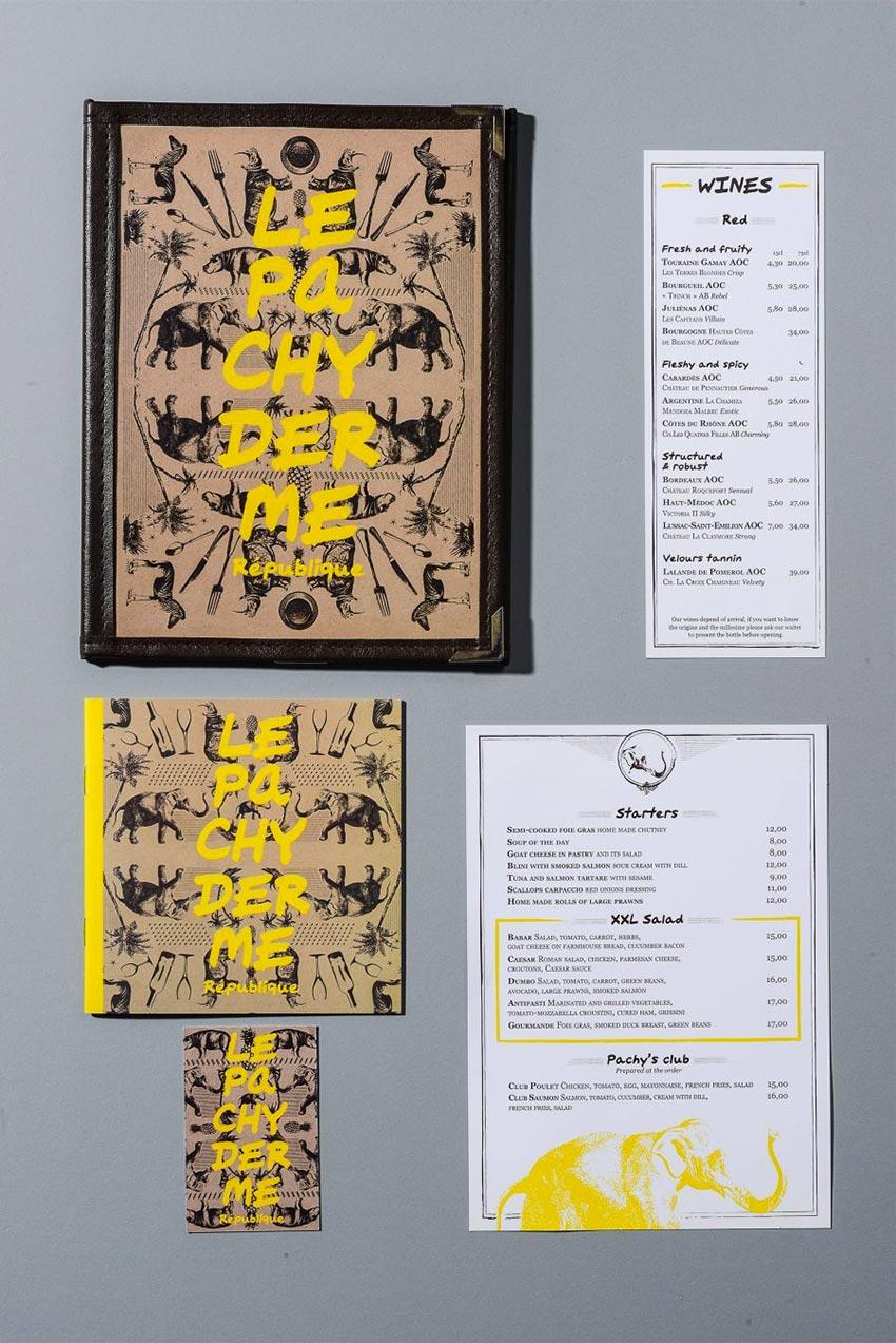 Le graphisme, les cartes des menus et l'identité visuelle ont été fait par le Studio Emma Roux pour la brasserie Le Pachyderme de Paris