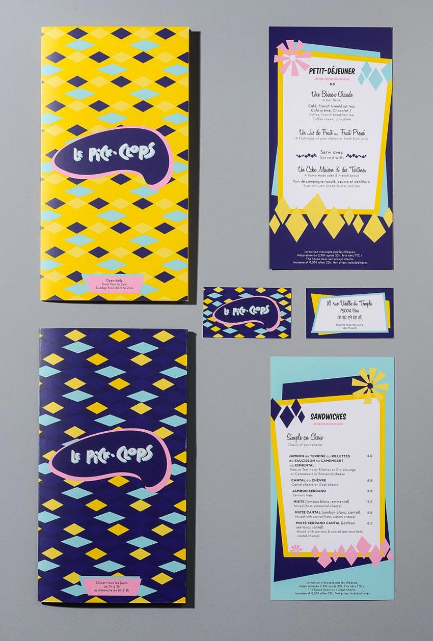 L'identité visuelle et le graphisme ont été fait pour le café Pickclops par le Studio Emma Roux