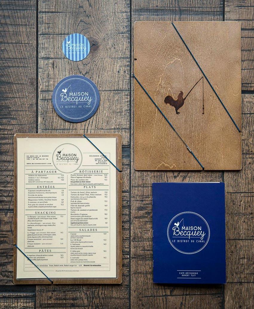 Graphisme et identité visuelle fait par le Studio Emma Roux pour la rôtisserie Maison Becquey. Menus, carte des vins, stickets, sous bock.